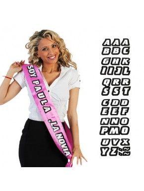 banda personalizable color rosa para poner nombre novia - 10 frases divertidas para bandas de despedida de soltera